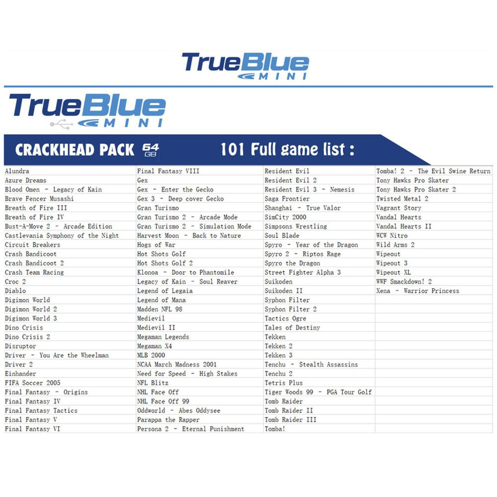 True Blue Mini Crackhead Pack 101 Games /Meth Pack 101 Games/32G Fight Pack 58 Games for  Classic Games & Accessories