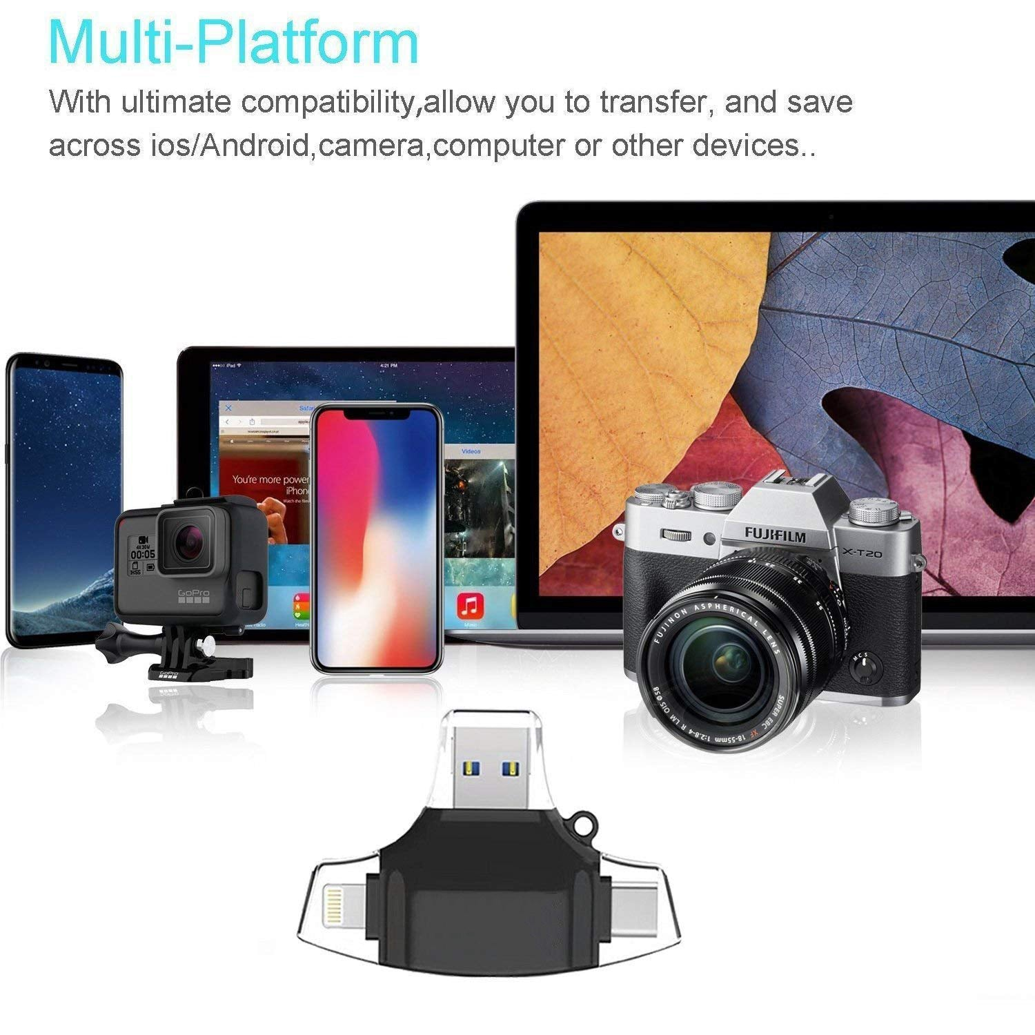 4-in-1 Card Reader for Lightning+Micro USB+USB3.0+Type-C Interface for iPhone iPad Android Mac Smartphones white