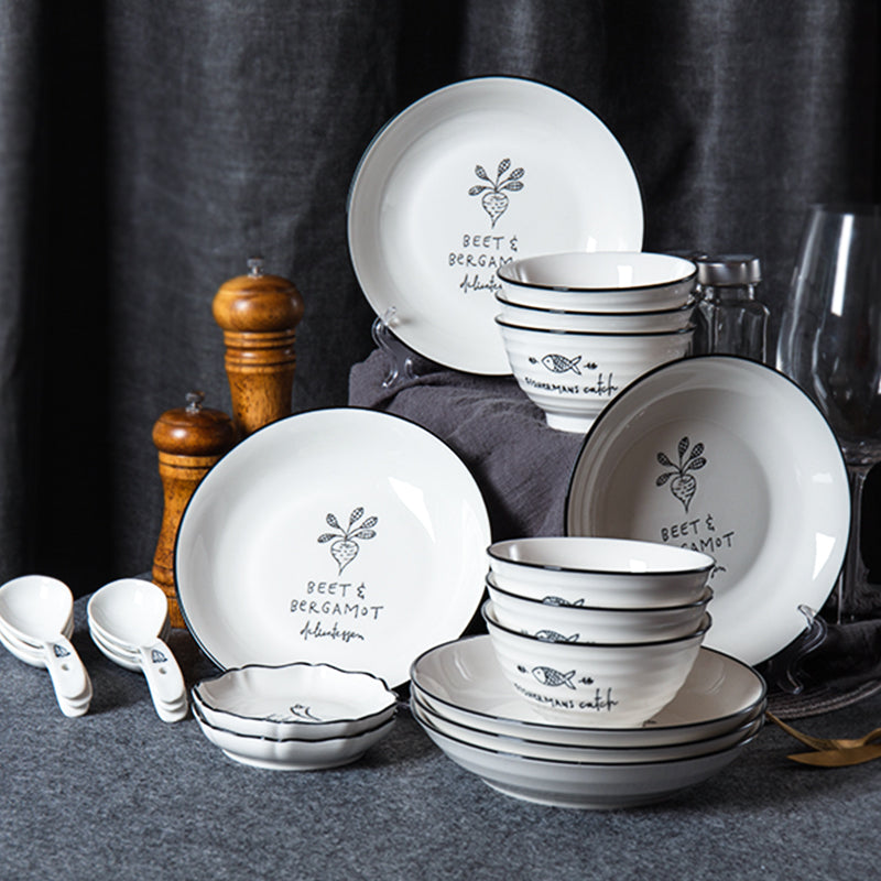 20-Piece Ceramic Kitchen Dinnerware Set Family Porcelain Suit within Dishes Bowls Plate Spoons Sauce Dish