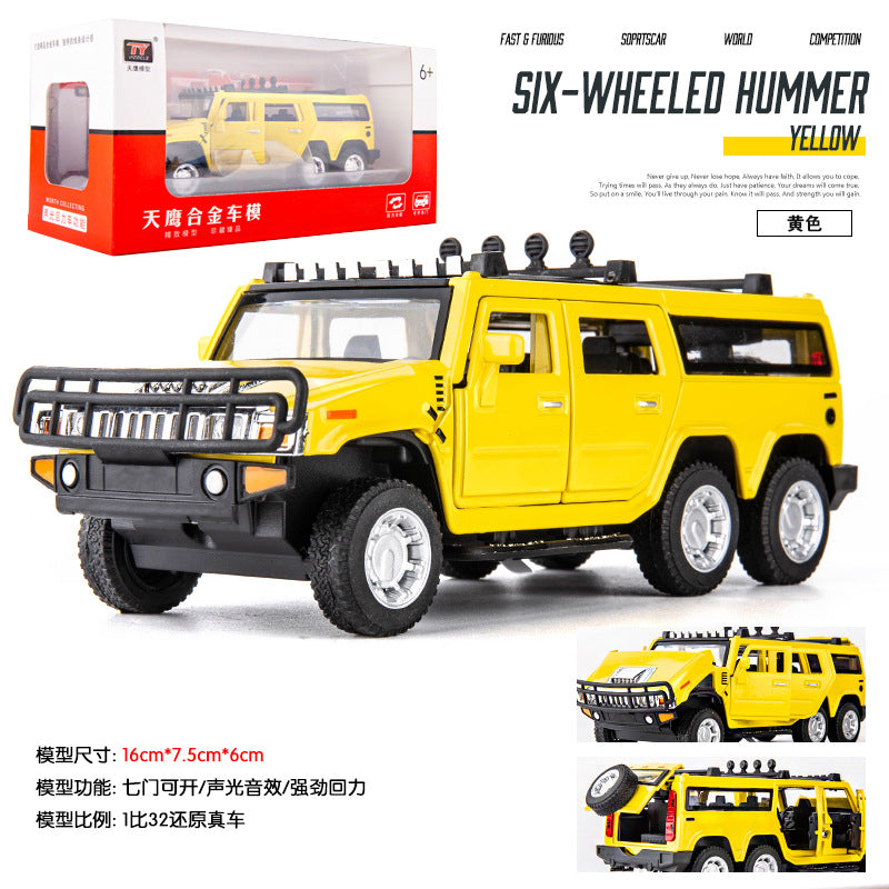 1:32 Car Model for Hummer H2 Off-road High Simulation Alloy Car Model Sound And Light Pull Back Door Boy Car Toy For Children Gifts red