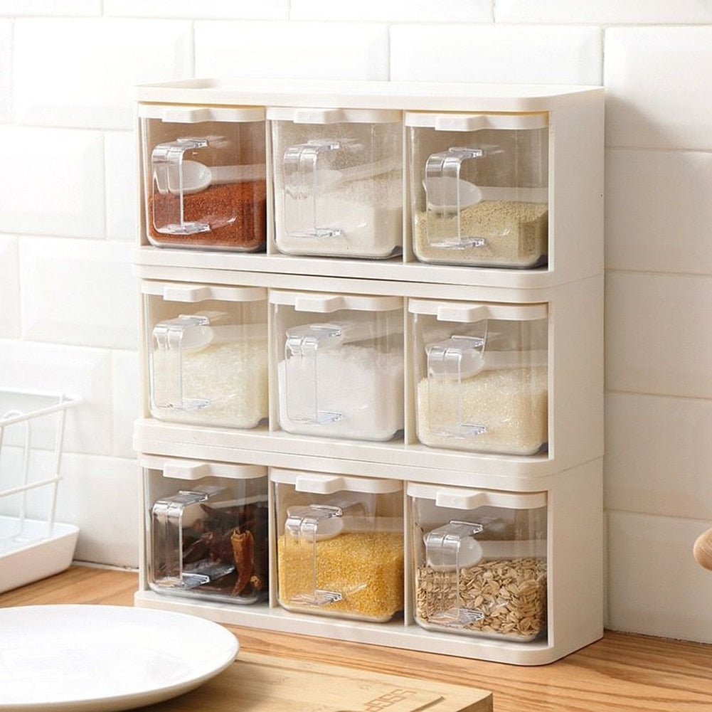 Spice Rack 3 Grids Seasoning Container