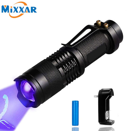 Mini Zoomable 3 Modes LED Flashlight Ultraviolet Detector for Pet Urine Stains - 4aces Gadets