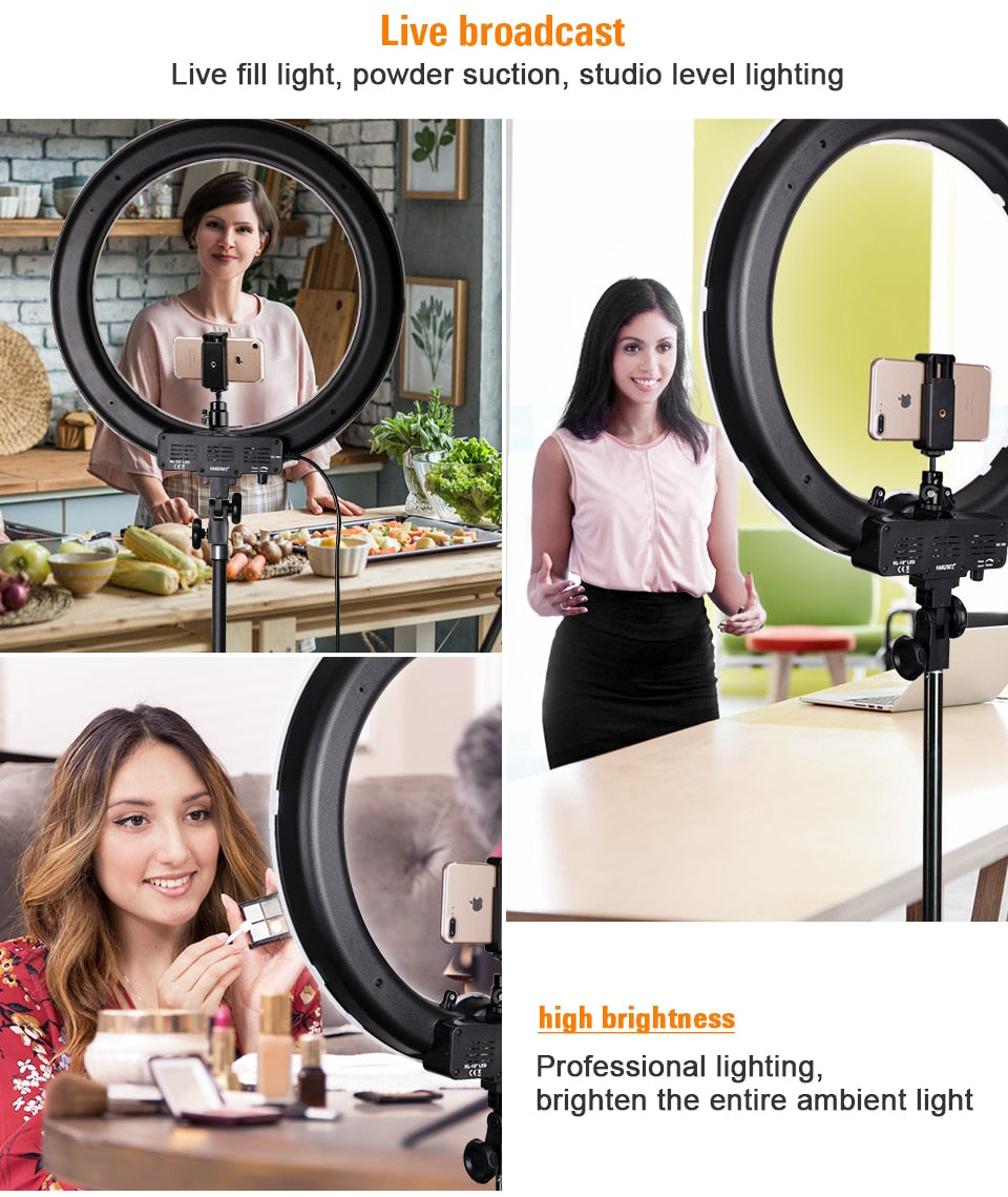 18 Inch Ring Light Dimmable 5500K LED Lamp With Tripod - 4aces Gadets