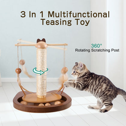 360° Rotating Rod With Feather Cat Teasing Toy with Wooden Balls Scratching Post