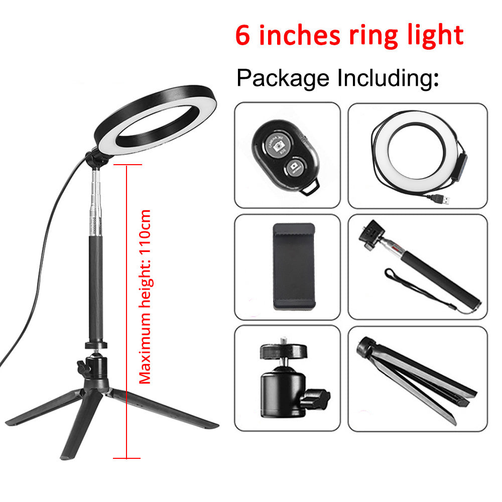 6, 8 and 10 inch USB Ring Lamp for Video with Tripod and Phone Holder - 4aces Gadets
