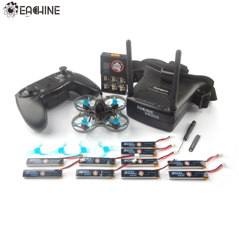 Eachine Novice-I 75mm 1-2S Whoop FPV Racing Drone RTF & Fly more w/ WT8 2.4G Transmitter 5.8Ghz 48CH with VR005 Goggles Mode 2 - 4aces Gadets