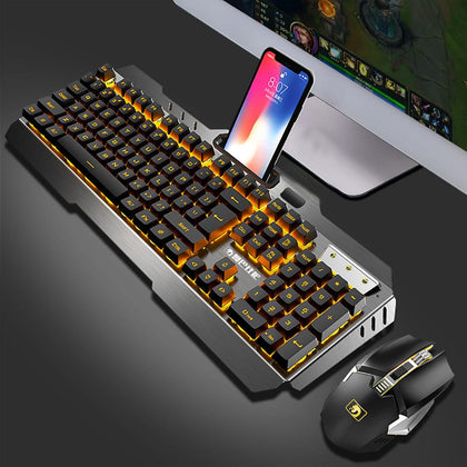 Anti-ghosting Luminous blue switch Backlit Wireless USB Waterproof keyboard and Mouse Set - 4aces Gadets