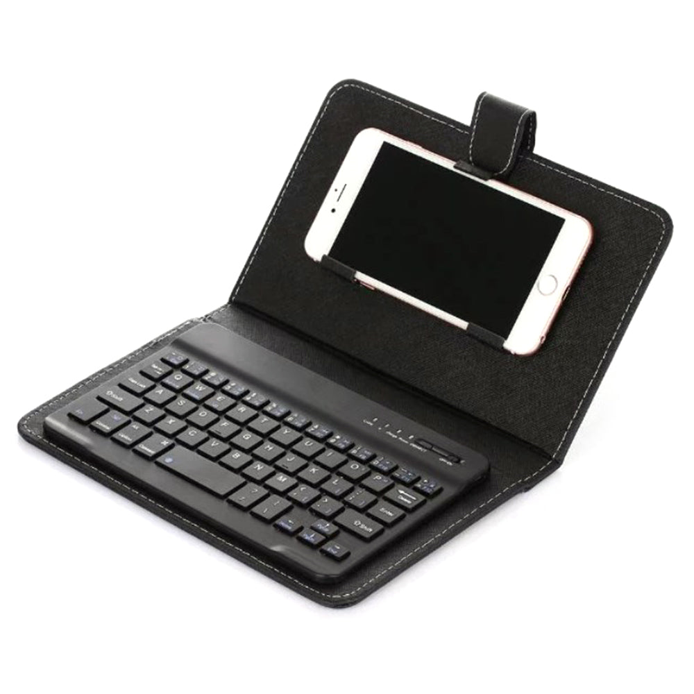 New Portable PU Leather Wired Keyboard Flip Holster Case For Mobile Phones