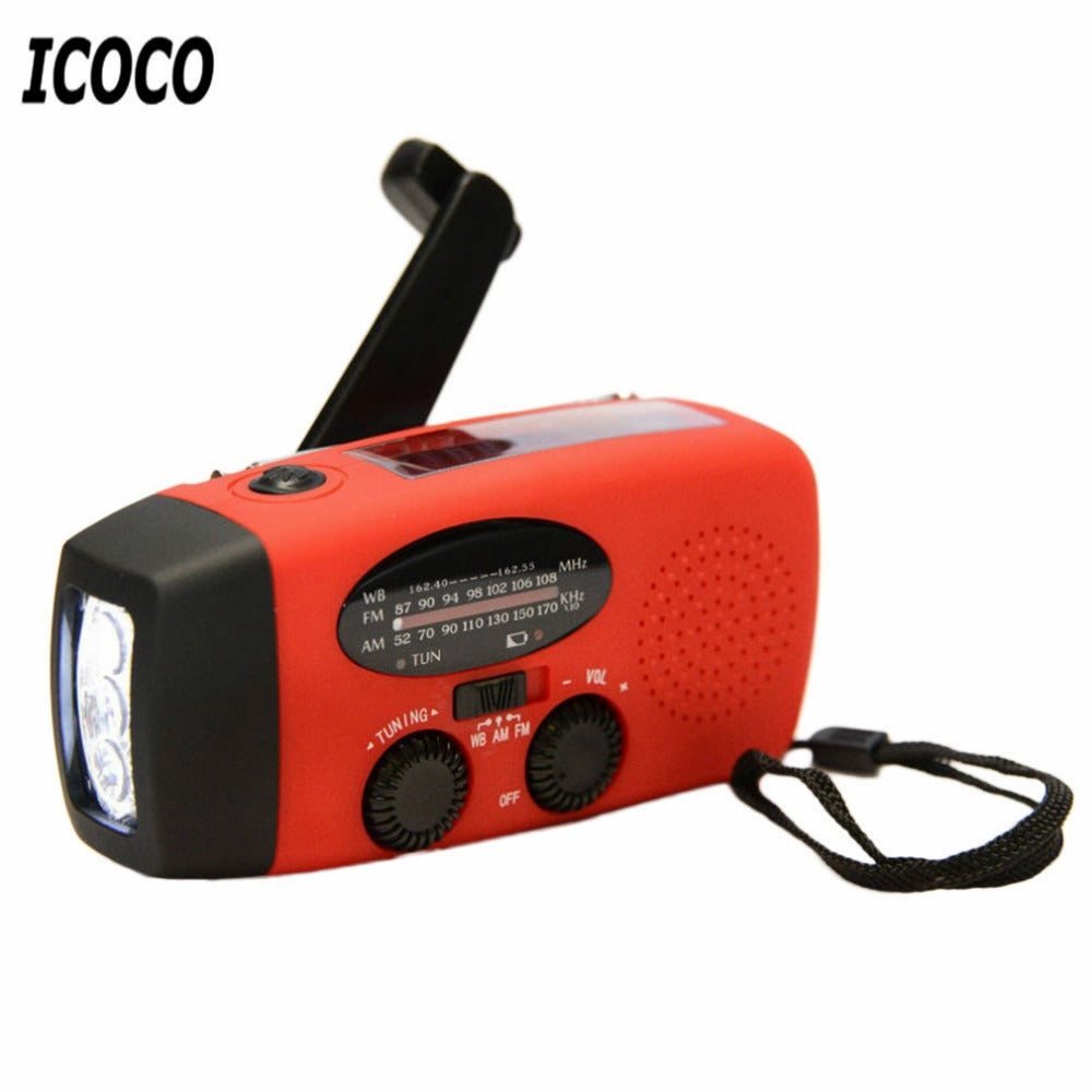 3-in-1 Emergency Charger Flashlight Hand Crank Generator With Powered FM/AM Radio - 4aces Gadets