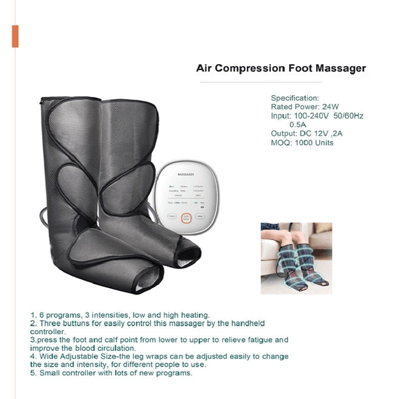Leg Air Compression Massager Heated for Foot and Calf Circulation
