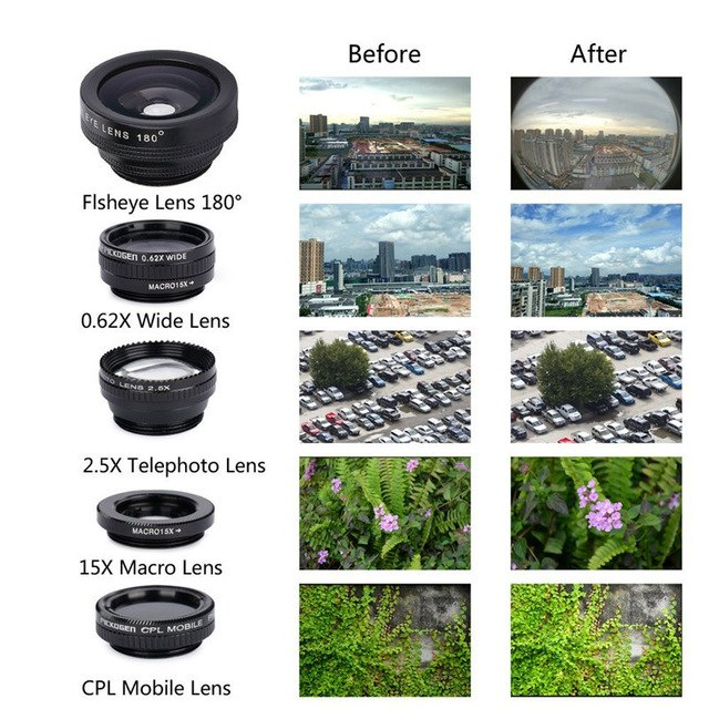 Universal Extended Polarization Wide-angle Lens Macro External Camera 5 in 1 Mobile Phone Fisheye Lens black