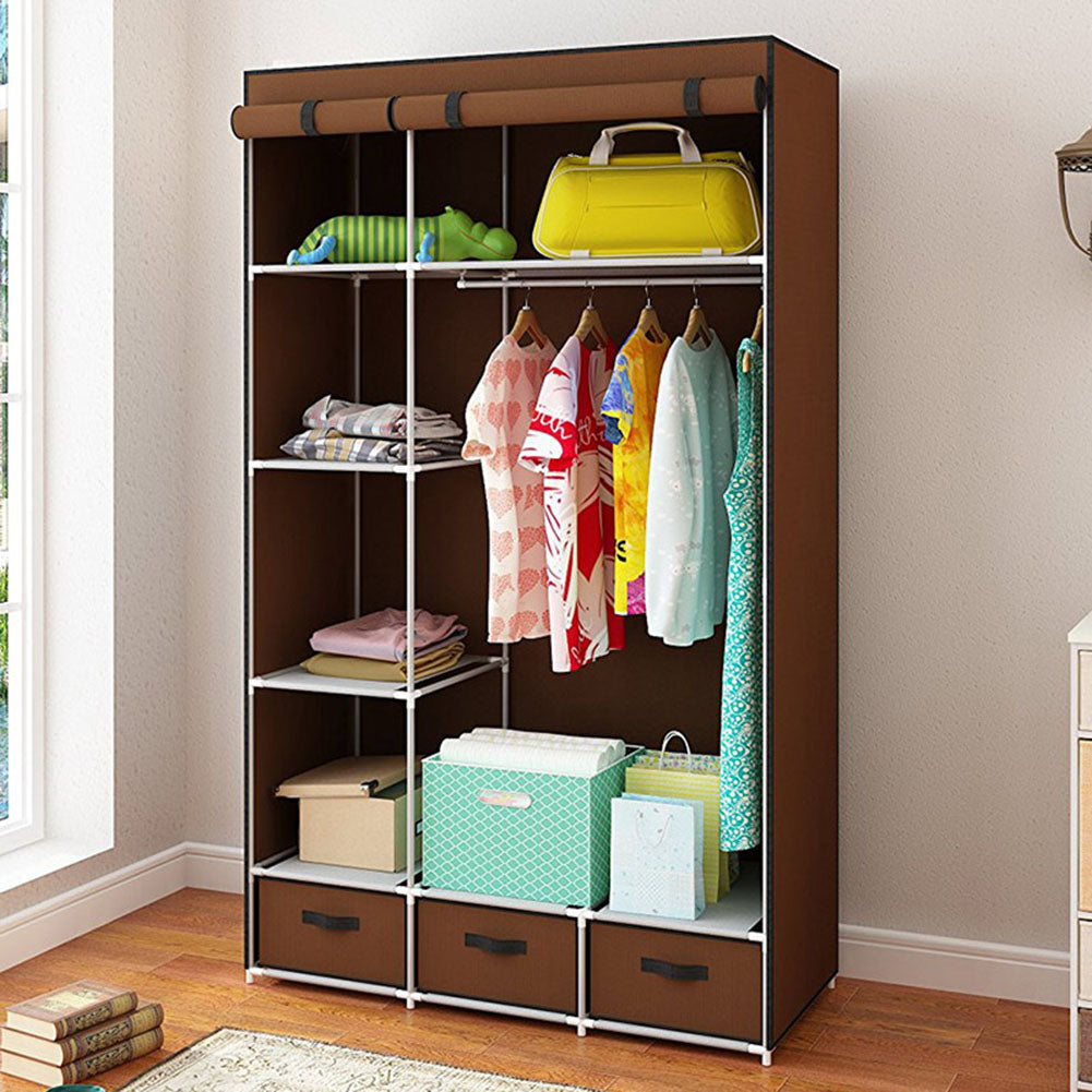 Modern Non-woven Cloth Wardrobe Baby Storage Cabinet with Drawer Bedroom Furniture brown