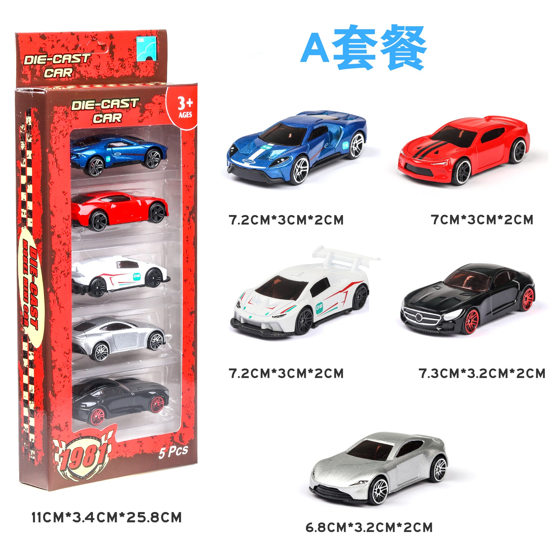 5PCS 1:64 Simulated Children Toy Multi-Style Taxiing Alloy Mini Car Model  B