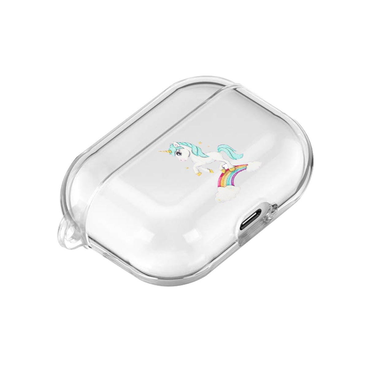 For AirPods Pro Headphones Case Full Protection Clear Cute Earphone Shell with Metal Hook 5 rainbow horses