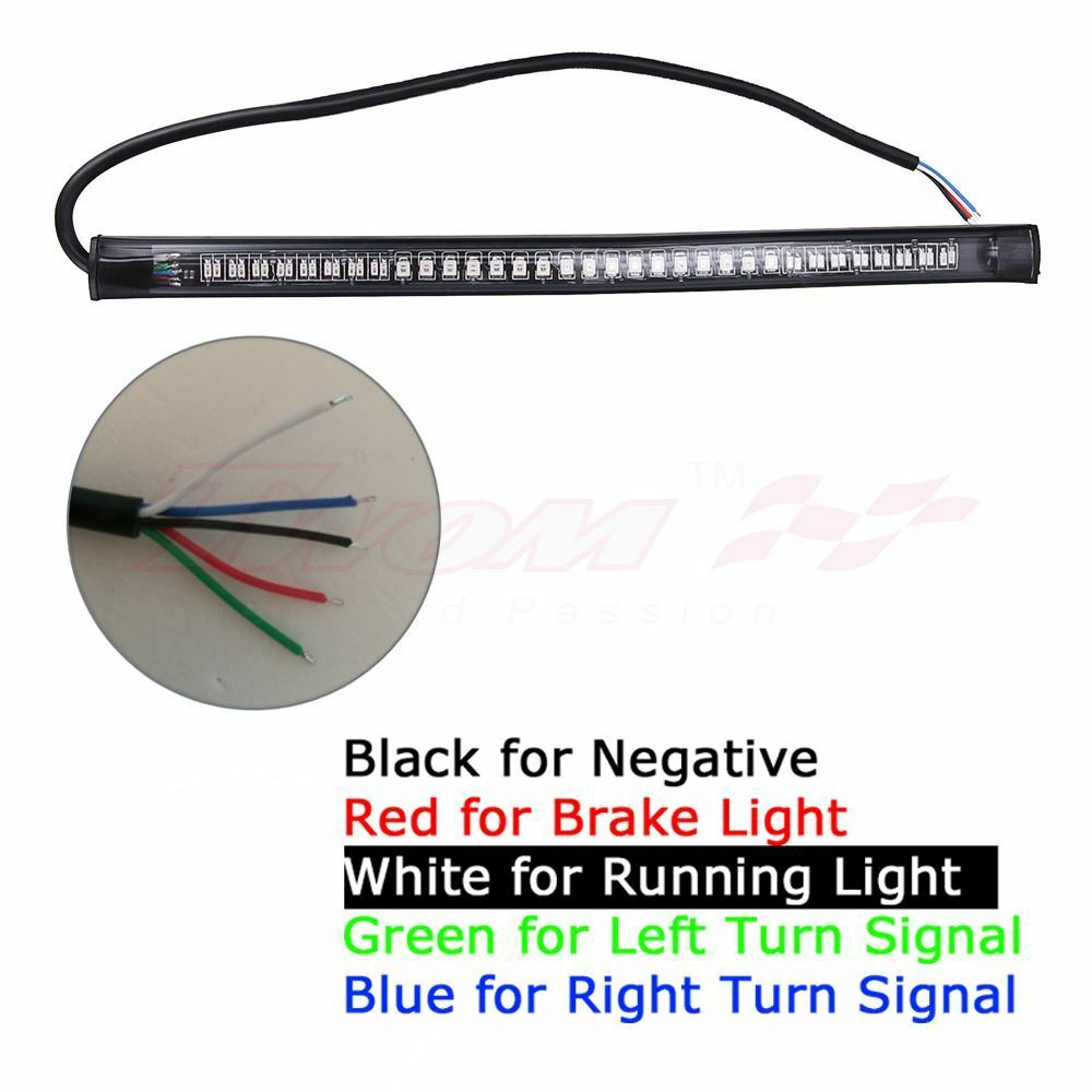 2X Universal Motorcycle flexible 48 LED Light Strip 8' Steering Signal Tail Light Bar 48led