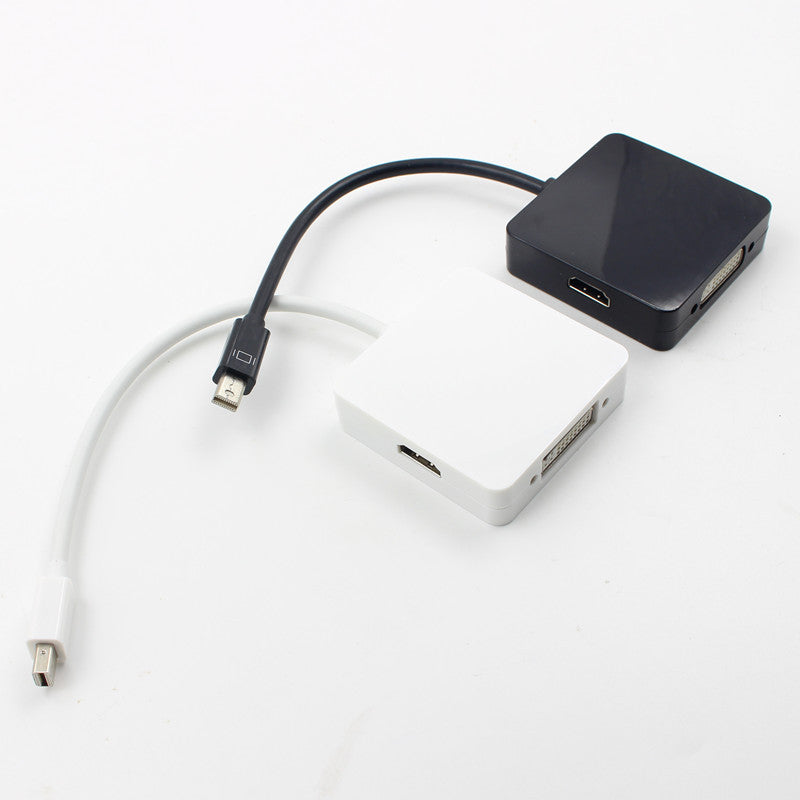 Mini Display Port 3 in 1 DP Thunderbolt To DVI VGA HDMI Adapter Cable white