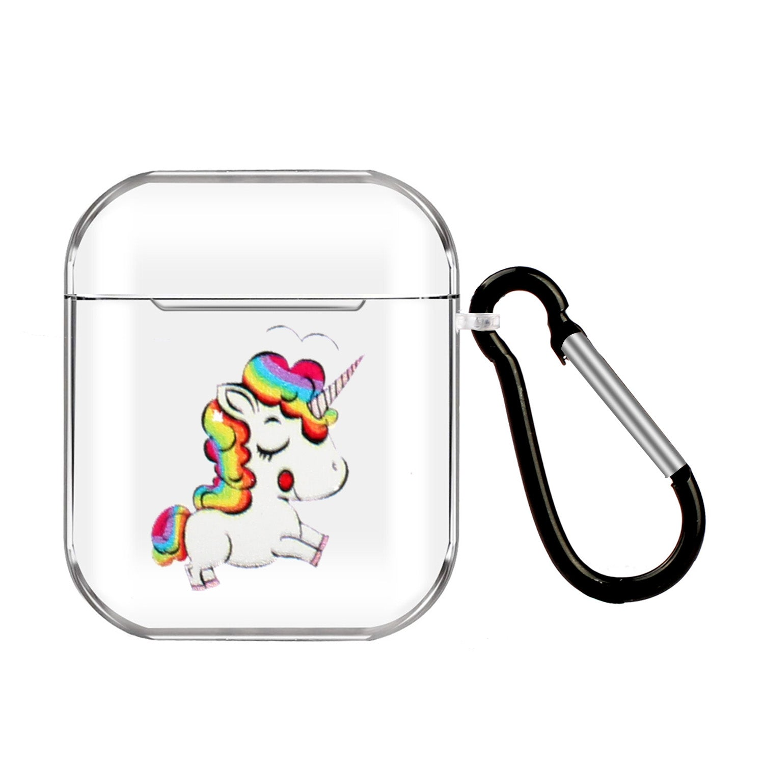 For AirPods 1/2 Headphones Case Transparent Earphone Shell with Metal Hook Overall Protection Cover 18 unicorns