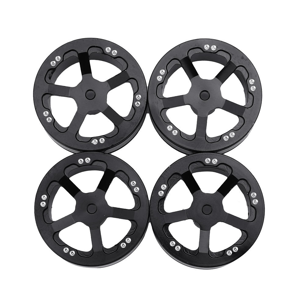 4PCS WPL Upgraded Aluminum Wheel Hub for B1 B16 B24 B36 C14 C24 1/16 Rc Car Parts black