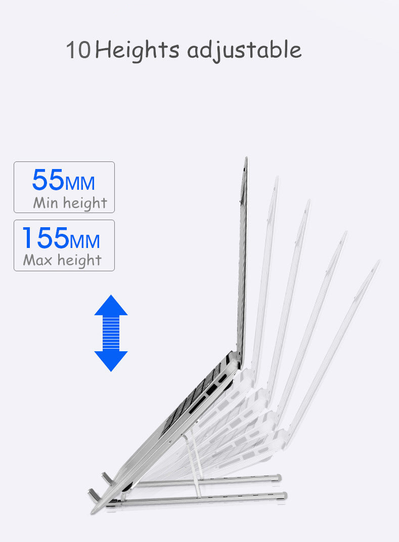Portable Foldable Adjustable Laptop Stand Holder Universal Ergonomic Aluminium Alloy Travel Mini Notebook Stand for MacBook Notebook Computer PC iPad  Silver