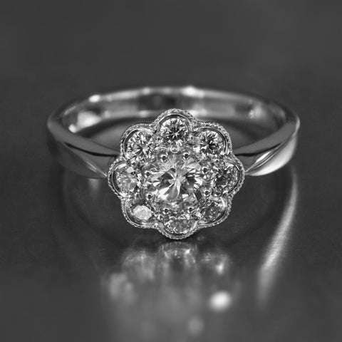 Diamond cluster ring in 9K white gold