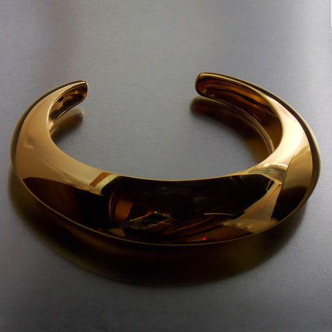 Gold plated cuff bangle in silver- Front