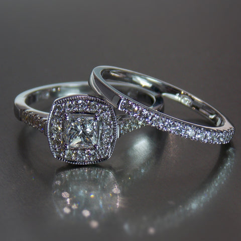 9K white gold cushion cut halo with princess cut and round diamonds with pave band