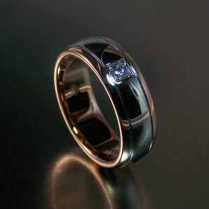 Modern 9K white and rose gold men's diamond solitaire