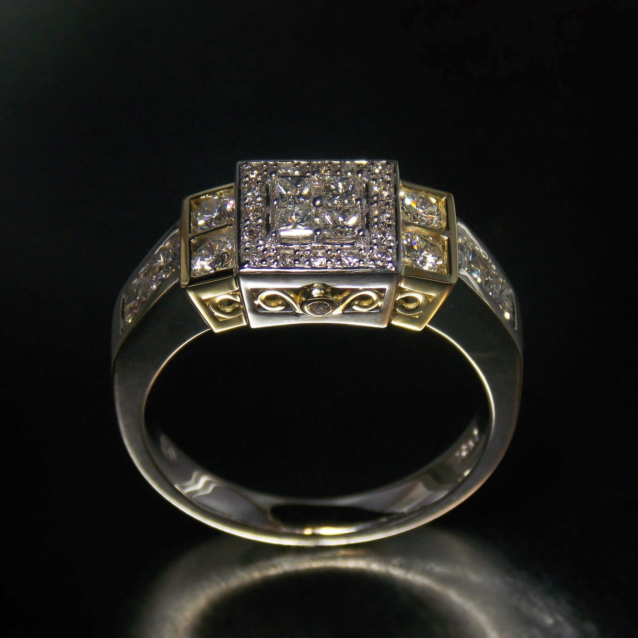 Yellow and white gold  symmetry dress ring set with diamonds