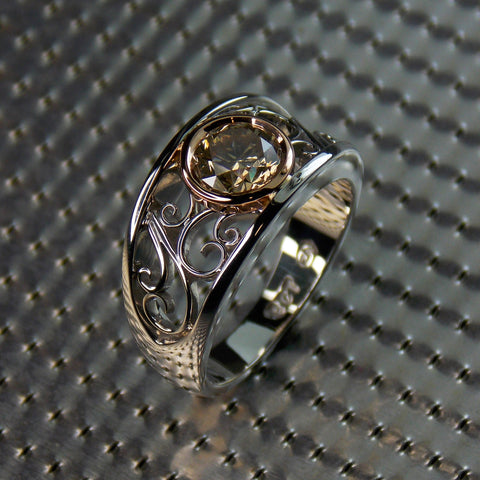 9K white & rose gold filigree ring set with champagne colored diamond