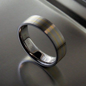 Platinum and yellow gold inlay band