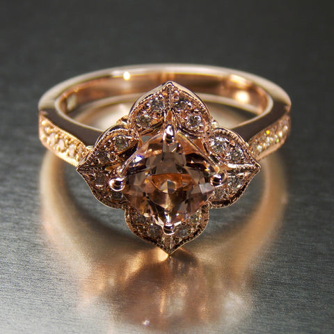 Rose gold and cushion cut morganite floral halo ring- Front