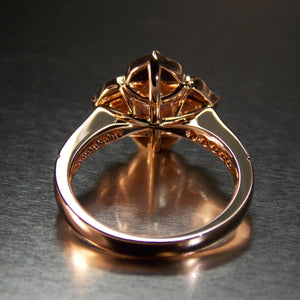 Rose gold and morganite floral ring with diamond halo- Back