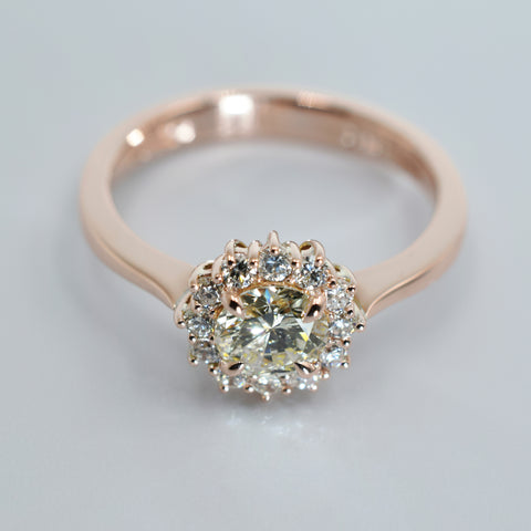 Rose gold and diamond cluster ring
