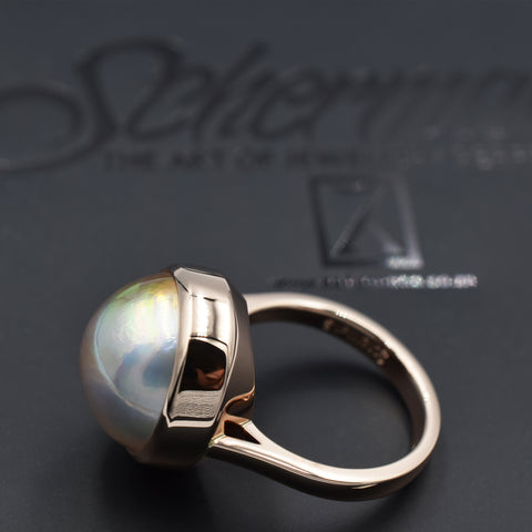 Modern mabe pearl dress ring in 9K rose gold