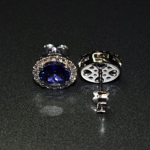 Tanzanite and diamond halo studs