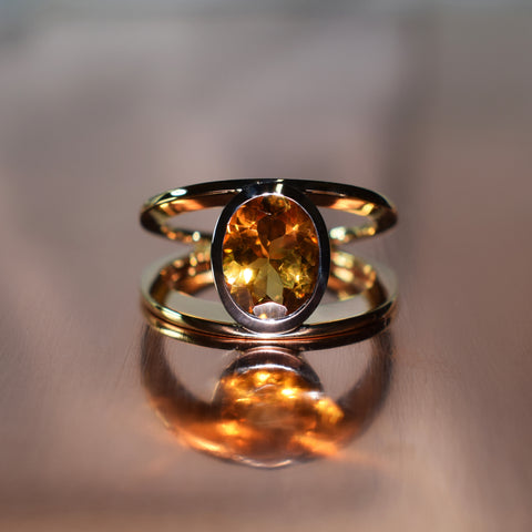 Rose and white gold split band ring with oval citrine
