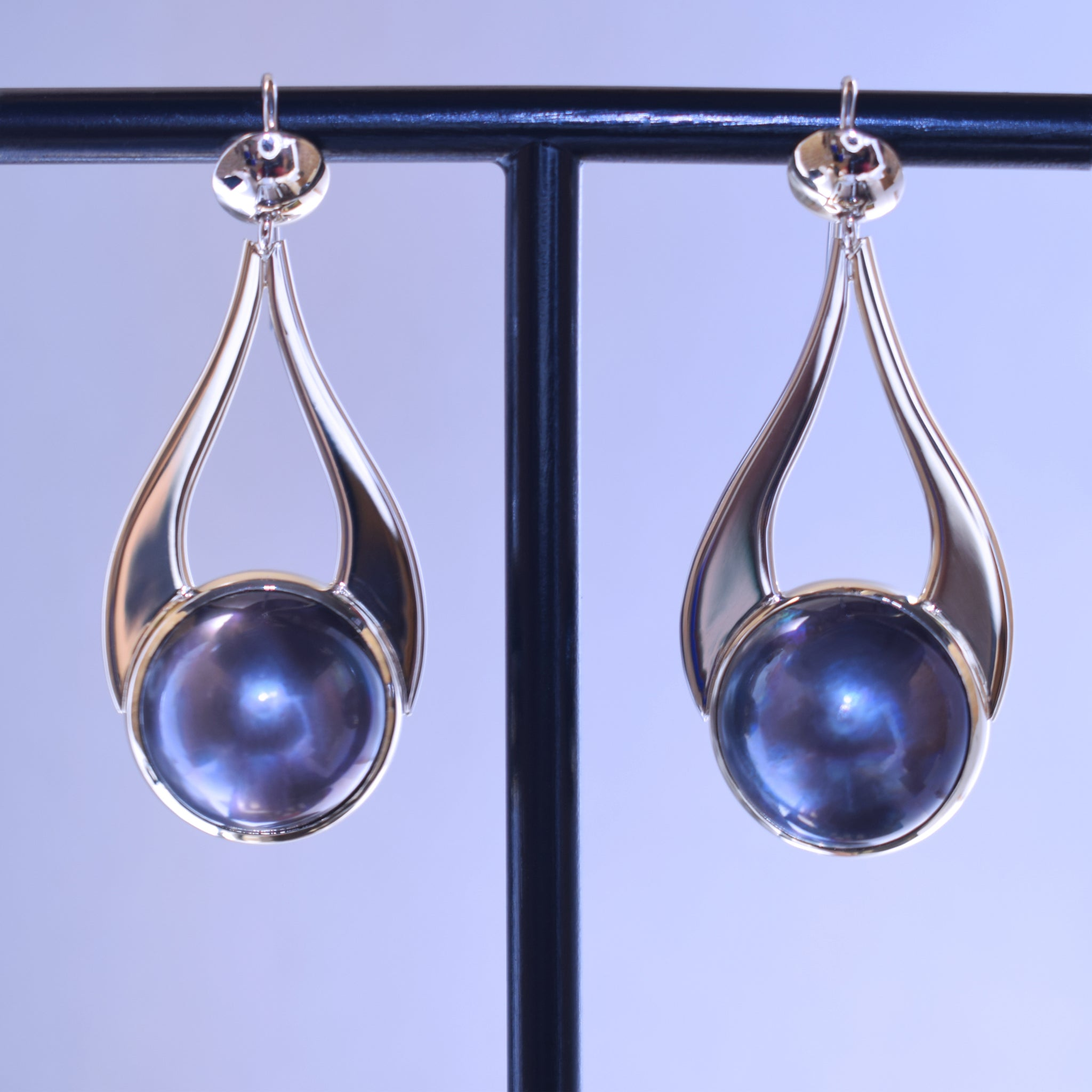 Blue mabe pearl hanging earrings
