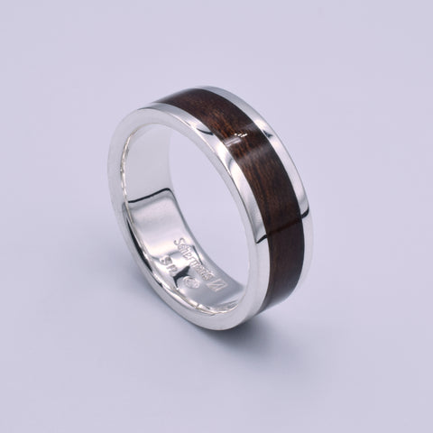 Silver and wood inlay band