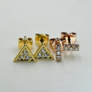 Triangle and rectangle shaped diamond studs in yellow and rose gold