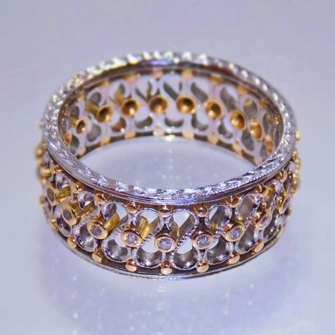 Platinum & yellow gold filigree diamond eternity ring