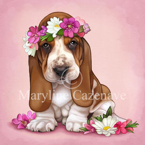 Maryline Cazenave Spring Basset Hound Diamond Painting Kit
