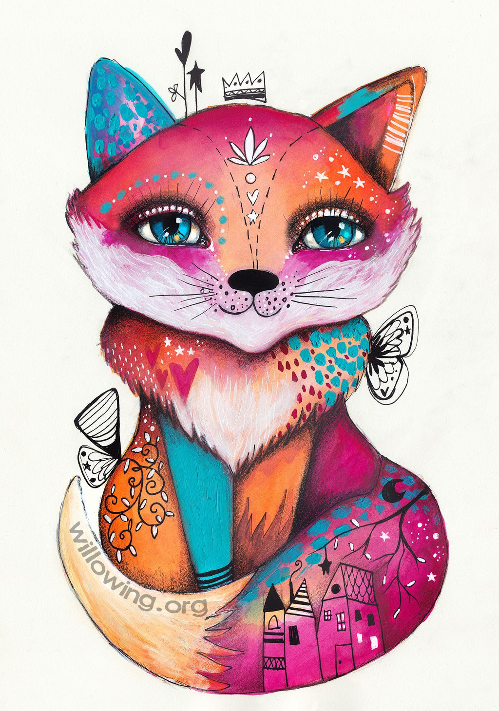 Willowing Arts Quirky Foxy Diamond Painting Kit - The Diamond Painting Factory