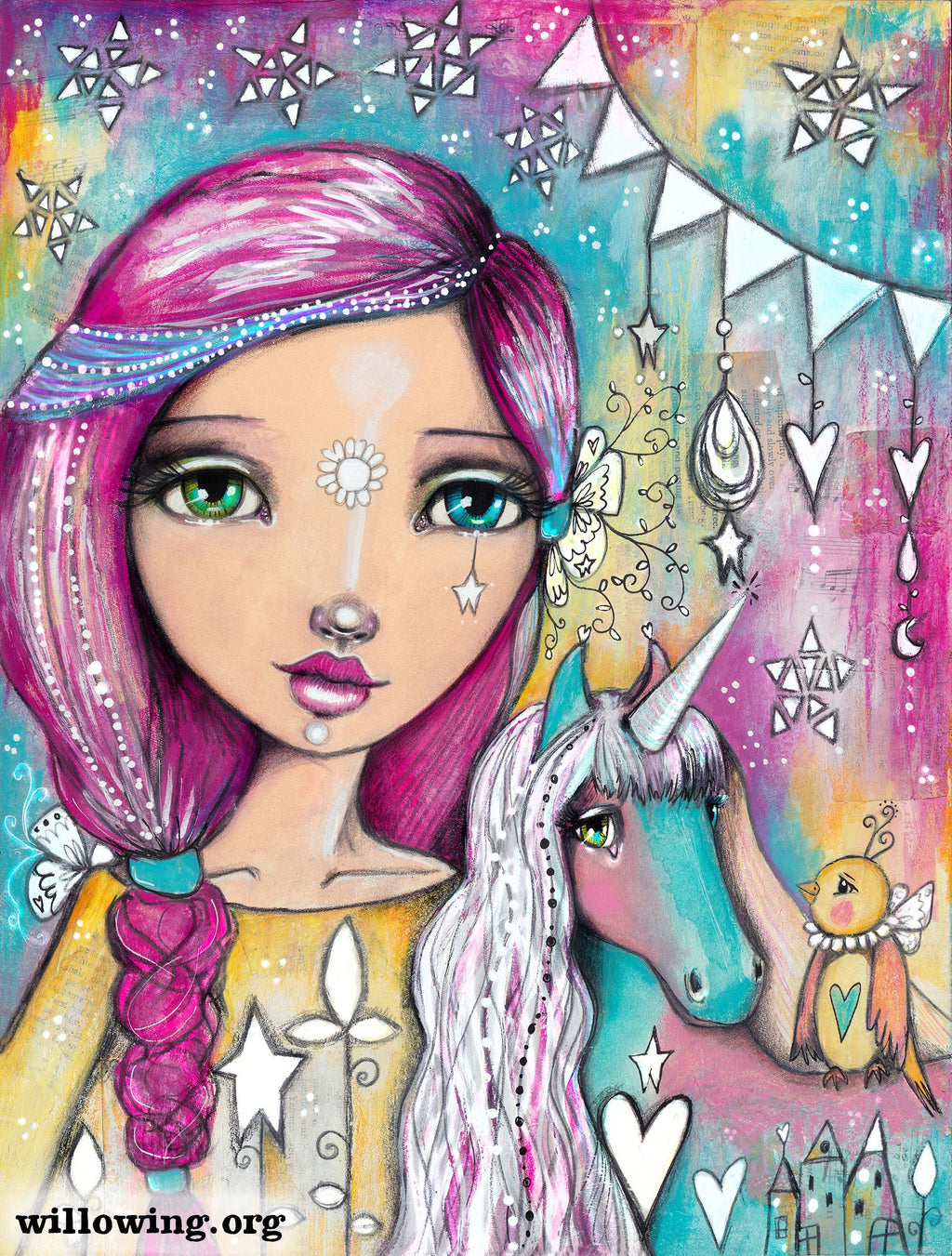 Willowing Arts Unicorn Girl Diamond Painting Kit - The Diamond Painting Factory