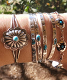Ida McCrae Sterling Silver Stamped Stacker Bracelet and Sleeping Beauty Turquoise