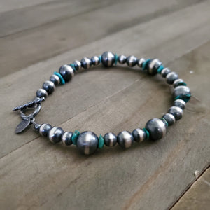 Sterling Silver Navajo Pearl and Turquoise Bracelet