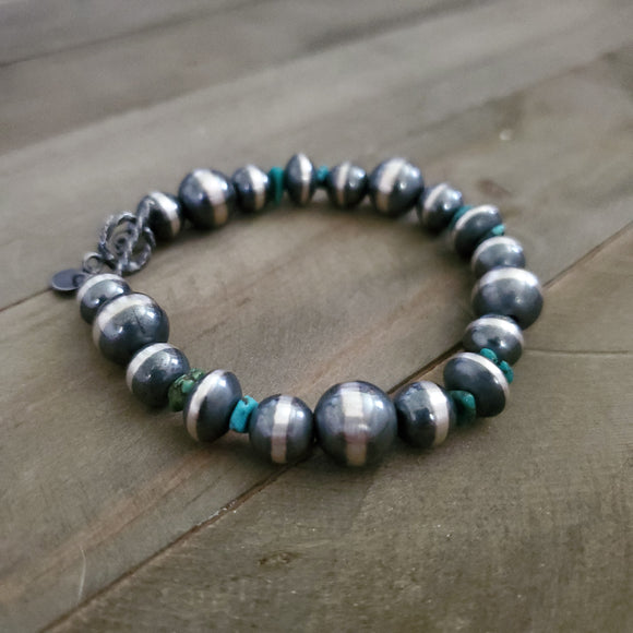 Sterling Silver and Turquoise Navajo Pearl Bracelet