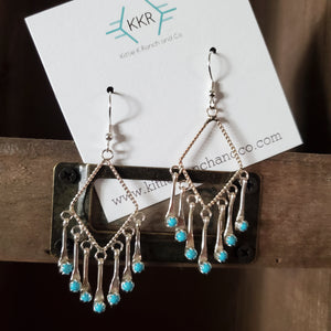 Sterling Silver and Turquoise Paddle Dangle Earrings