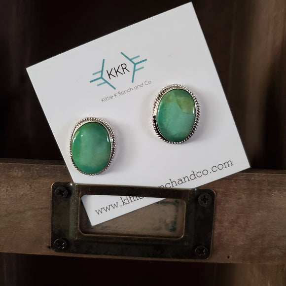 Sterling Silver Large Turquoise Stud Earrings