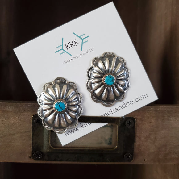 Sterling Silver and Turquoise Large Concho Stud Earrings
