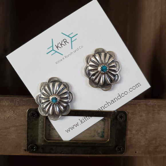 Sterling Silver and Turquoise Medium Concho Stud Earrings